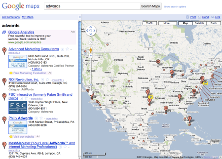 Google Maps U.S. Results Adwords