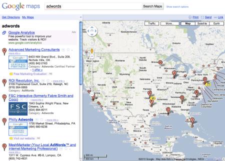 Google Maps U.S. Results Adwords