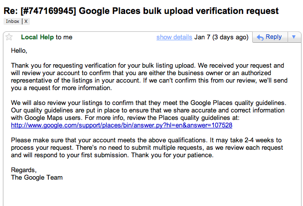 Google Places Bulk Upload Verification Confirmation Email