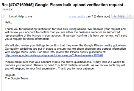 Google Places Bulk Verification Confirmation Email