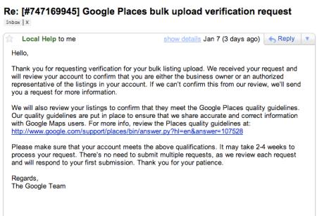 Google Places Bulk Verification Confirmation Email