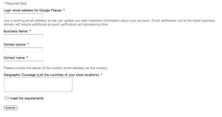 Google Places Owner's Bulk Verification Form
