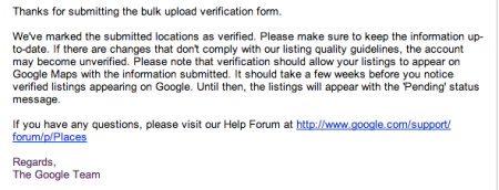 Google Places Bulk Upload Request Verified