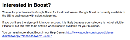 Google Boost Sign Up