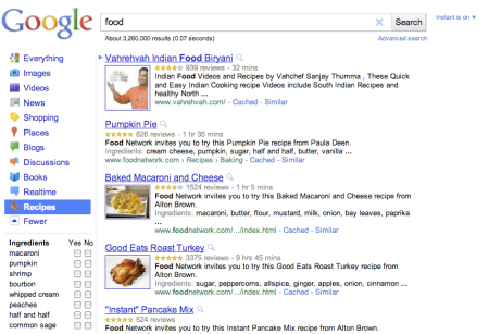 Google Recipes Link