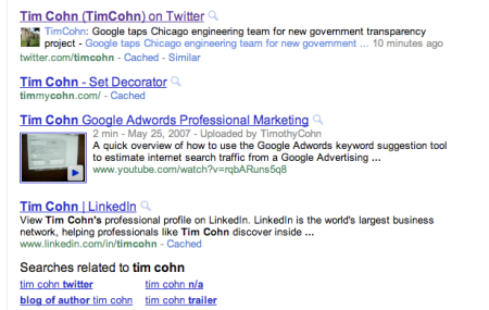 Google Twitter Search Results
